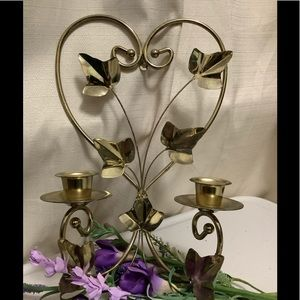 Vintage Heart & Ivy Leaves Candle Holder